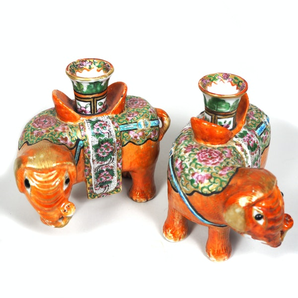 Pair of Chinese elephant candle holders - image 5