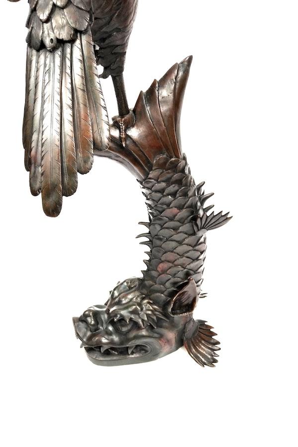 Japanese Meiji  Period  Bronze Okimono of Eagle catching  a Dragon Fish. - image 3