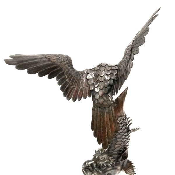 Japanese Meiji  Period  Bronze Okimono of Eagle catching  a Dragon Fish. - image 4
