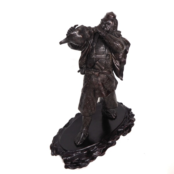 Japanese bronze statue of a Samurai blowing a conch shell - image 7