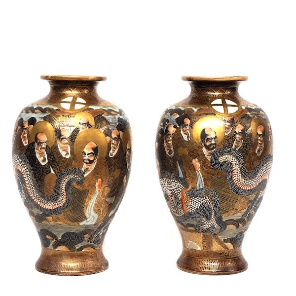 Pair Japanese Satsuma Vases with gods decoration - image 3