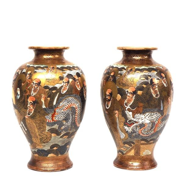 Pair Japanese Satsuma Vases with gods decoration - image 4