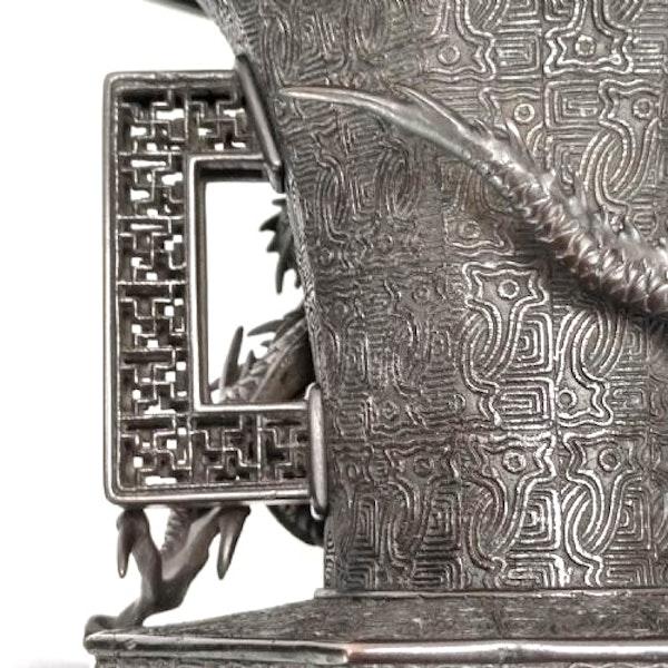 Pair Japanese Bronze Vases. Meiji Period ( 1868-1912 ) - image 6