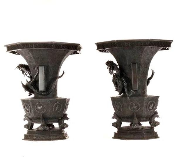 Pair Japanese Bronze Vases. Meiji Period ( 1868-1912 ) - image 2