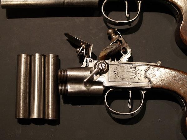 Pair 3 barrelled flintlock pistols - image 2