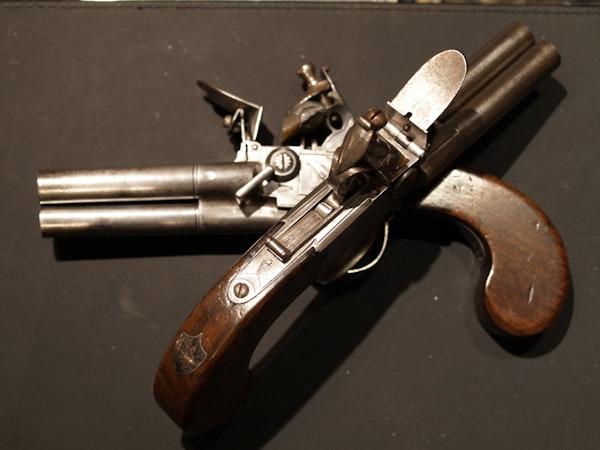 Pair 3 barrelled flintlock pistols - image 3