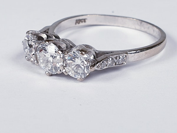 Art Deco Three Stone Diamond Ring 2062  DBGEMS - image 2
