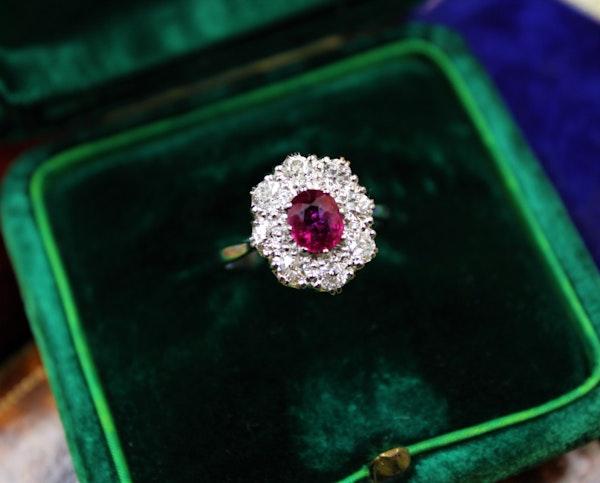 A very fine Burmese Ruby & Diamond Cluster Ring set in Platinum, English, Circa 1930 - image 1
