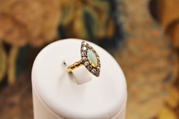 A Marquise-cut Australian Opal & Diamond Ring set in 18 Carat Yellow Gold & Silver, Circa 1900-1905 - image 1