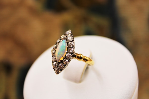 A Marquise-cut Australian Opal & Diamond Ring set in 18 Carat Yellow Gold & Silver, Circa 1900-1905 - image 2