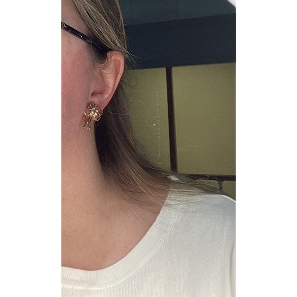 Date: circa 1960, 18ct Yellow Gold, Diamond stone set clip Earrings, SHAPIRO & Co since1979 - image 2