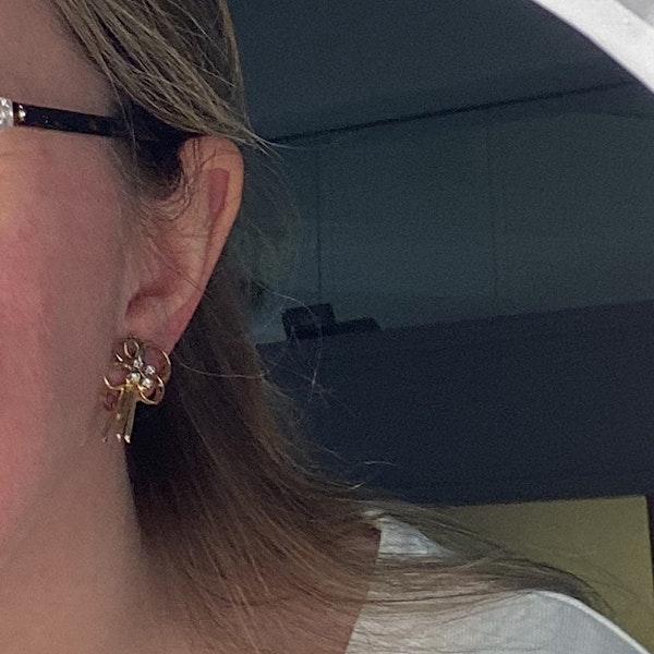Date: circa 1960, 18ct Yellow Gold, Diamond stone set clip Earrings, SHAPIRO & Co since1979 - image 3