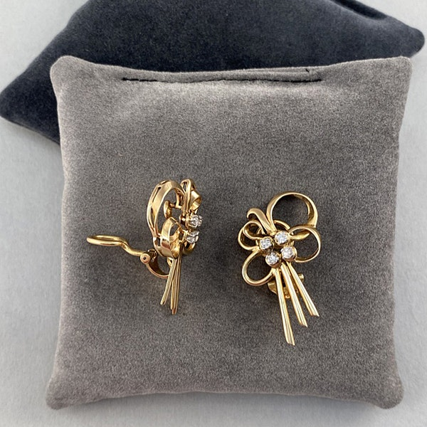 Date: circa 1960, 18ct Yellow Gold, Diamond stone set clip Earrings, SHAPIRO & Co since1979 - image 4