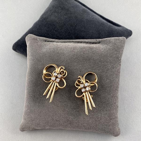 Date: circa 1960, 18ct Yellow Gold, Diamond stone set clip Earrings, SHAPIRO & Co since1979 - image 5