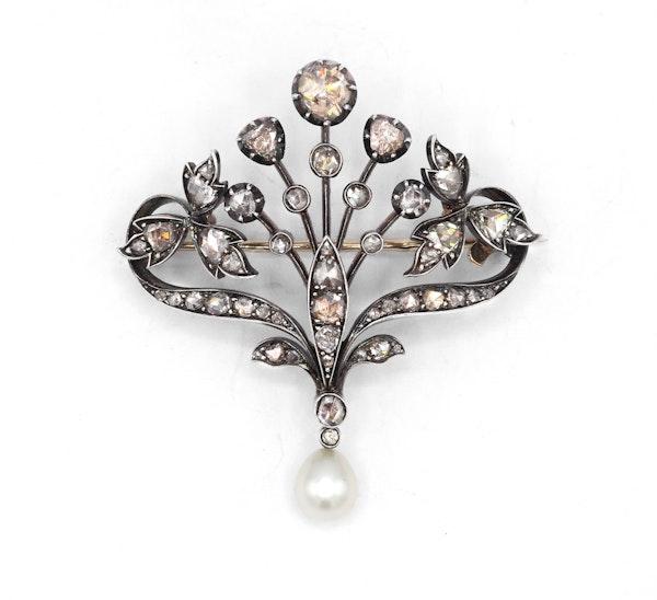 Victorian Diamond and Pearl Brooch, circa 1880 - image 1