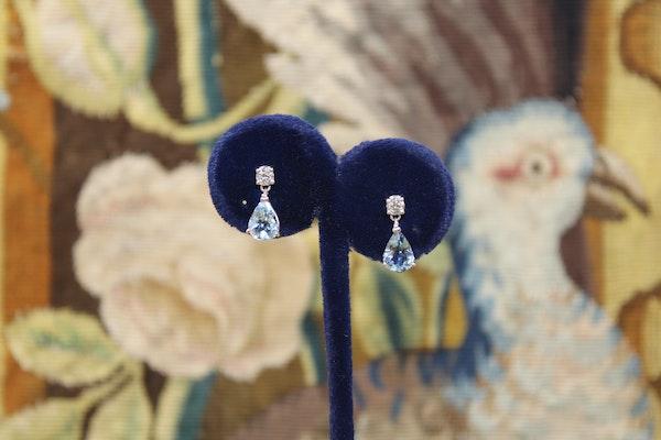 A fine pear of Aquamarine and Diamond Earrings, Pre-owned - image 1
