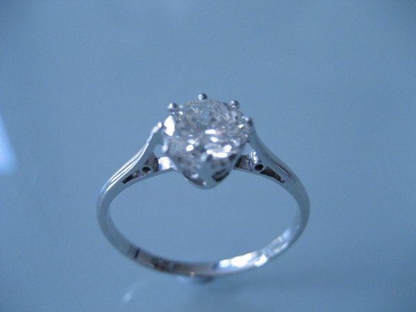 A Solitaire Diamond Ring Set with a .97cts Brilliant Cut Diamond Offered by The Gilded Lily - image 2
