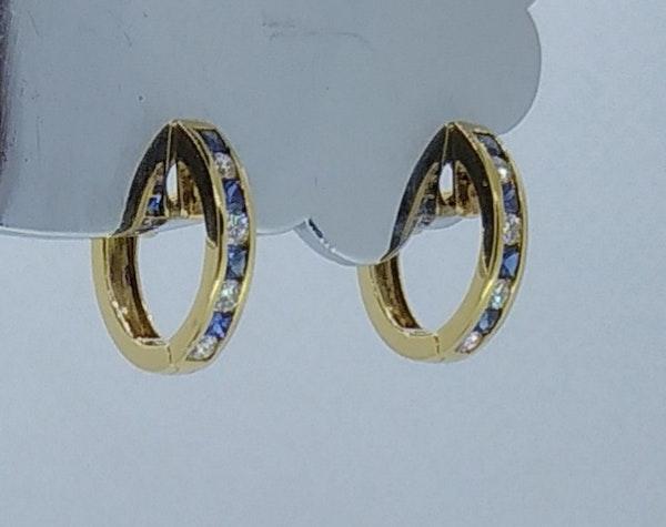 Sapphire and Diamond Round Hoop Earrings - image 2