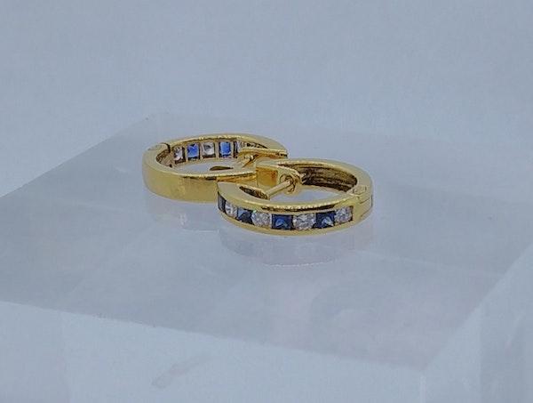 Sapphire and Diamond Round Hoop Earrings - image 3