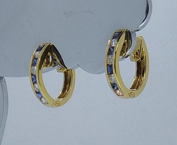 Sapphire and Diamond Round Hoop Earrings - image 4