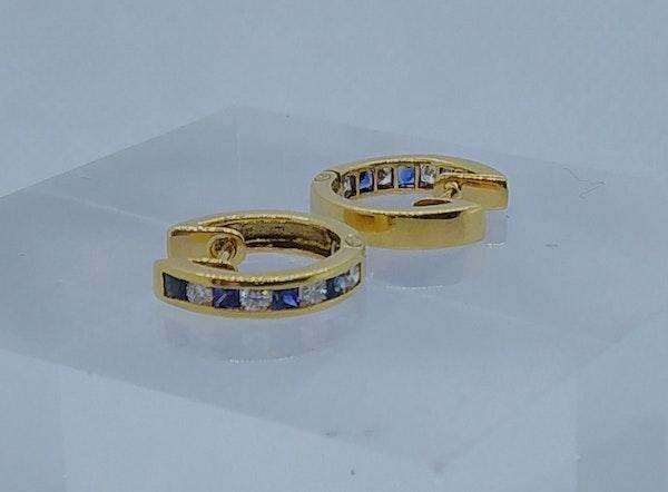 Sapphire and Diamond Round Hoop Earrings - image 5