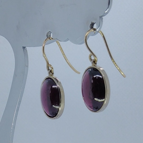 Garnet Cabochon Drop Earrings - image 3