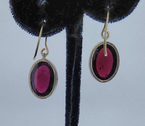 Garnet Cabochon Drop Earrings - image 4