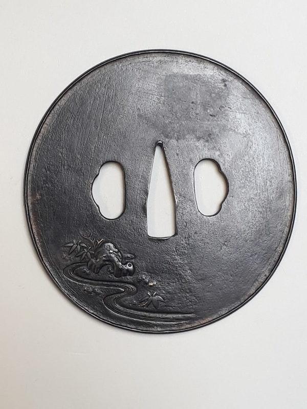 Japanese iron tsuba with shoki decoration - image 2