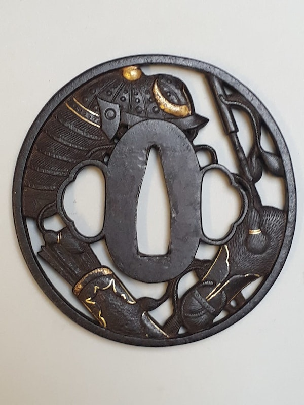 Japanese Meiji Period iron tsuba with cut out design of samurai objects - image 2