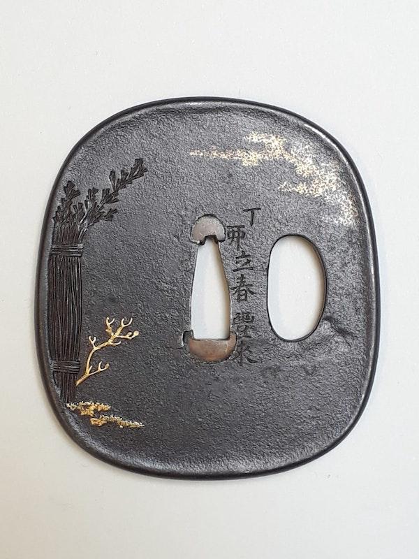 Japanese Meiji Period iron tsuba with a fishing egret - image 2