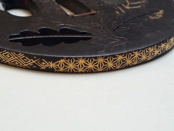 Japanese iron tsuba with oak leaf design - image 2