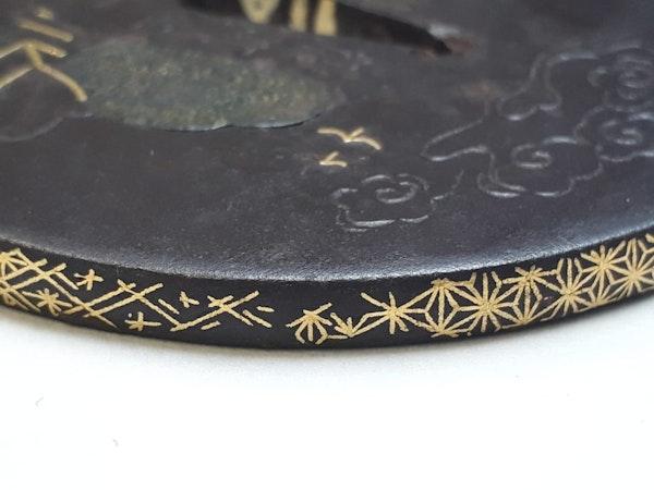 Japanese iron tsuba with oak leaf design - image 3