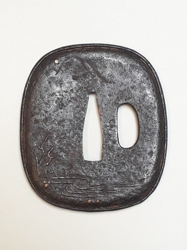 Japanese Meiji Period iron tsuba with decoration of shoki - image 2