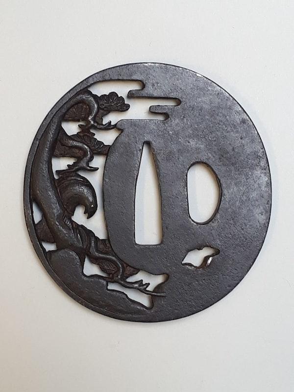 Japanese iron tsuba with a hawk - image 2
