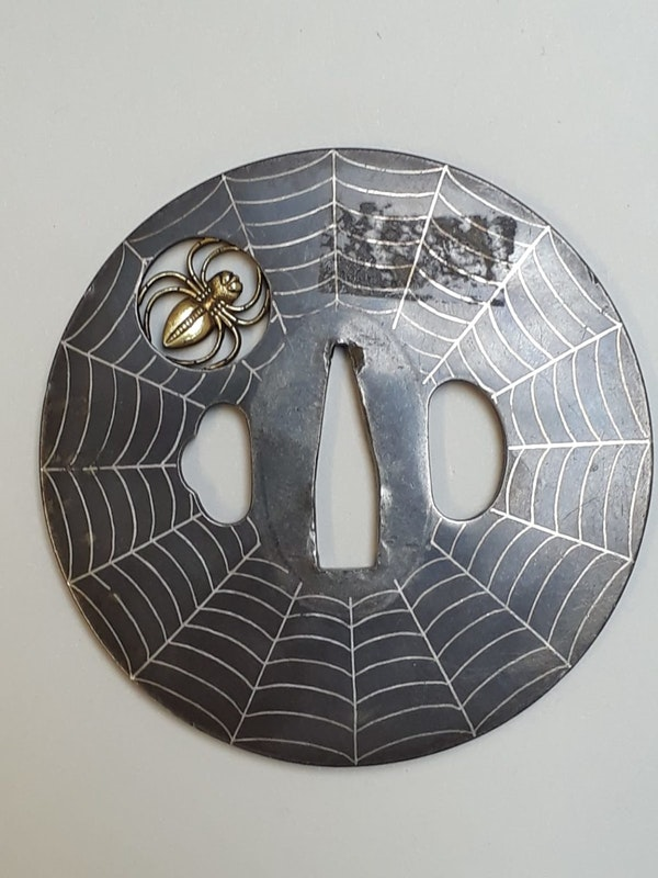 Japanese tsuba decorated with a spider and web - image 2