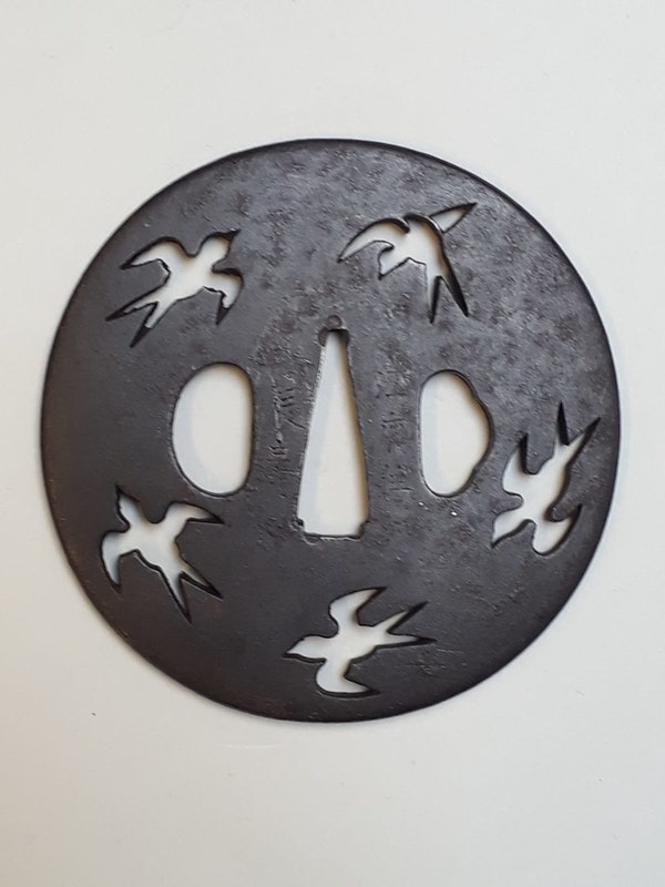 Japanese iron tsuba decorated with birds - image 2