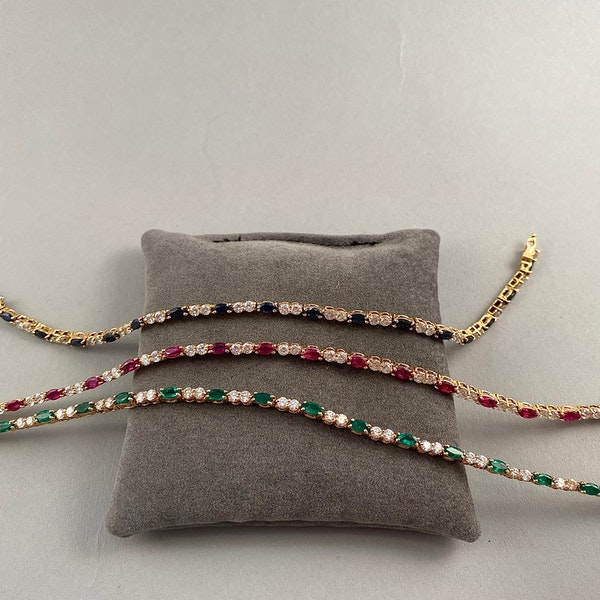 Ruby, Sapphire ,Emerald and Diamond 3 Bracelets in 18ct Gold date circa 1970, SHAPIRO & Co since1979 - image 1