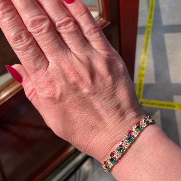 Ruby, Sapphire ,Emerald and Diamond 3 Bracelets in 18ct Gold date circa 1970, SHAPIRO & Co since1979 - image 3