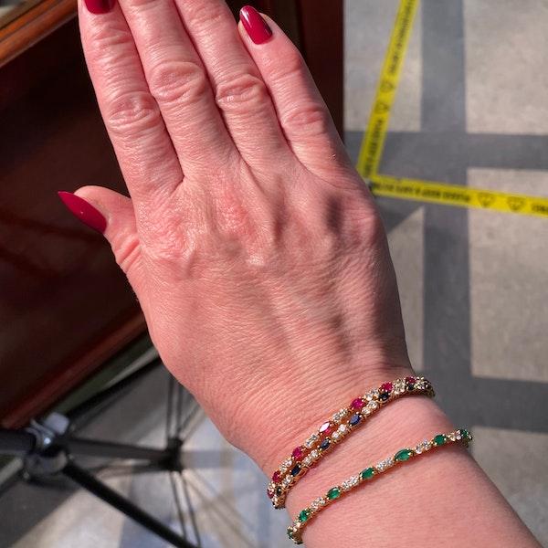 Ruby, Sapphire ,Emerald and Diamond 3 Bracelets in 18ct Gold date circa 1970, SHAPIRO & Co since1979 - image 5