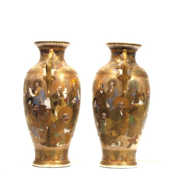 Pair Japanese Satsuma Vases, Meiji period, 19 c. - image 3
