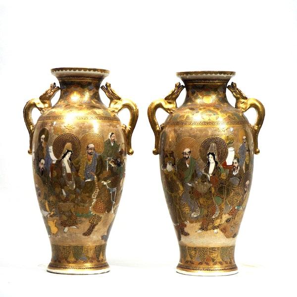 Pair Japanese Satsuma Vases, Meiji period, 19 c. - image 2