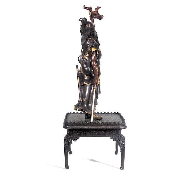 Japanese Meiji Period bronze figure of shoki and an oni - image 2