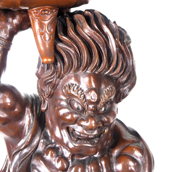 Japanese wood sculpture of a nio temple guardian - image 5