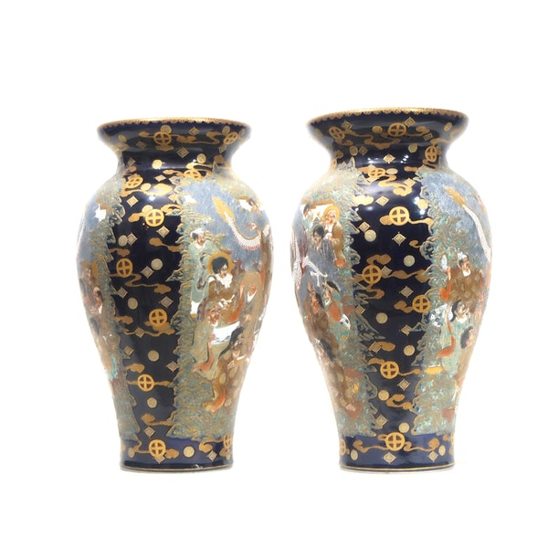 Japanese satsuma vase with dragon decoration - image 4