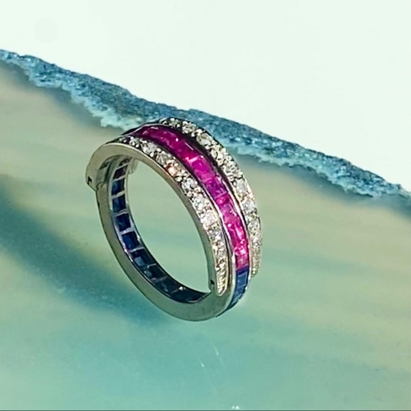 An Art Deco Sapphire Ruby and Diamond Night and Day Flip Ring - image 3