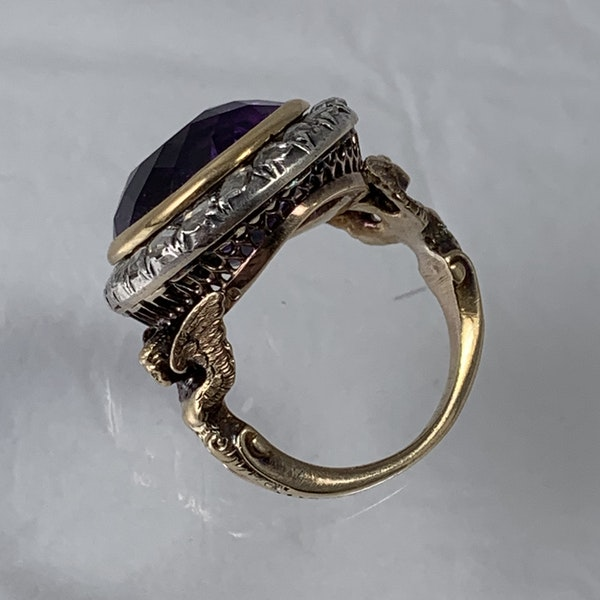 Amethyst ring with diamonds - image 2