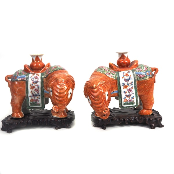 Pair Chinese elephant candle holders - image 3
