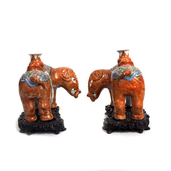 Pair Chinese elephant candle holders - image 4