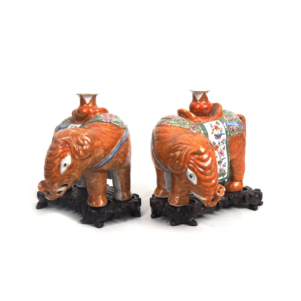 Pair Chinese elephant candle holders - image 5