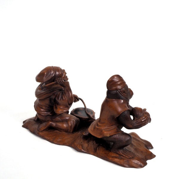 Japanese wood carving of a Monkey and trainer - image 3